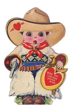 Cowboy vintage mechanical valentine.