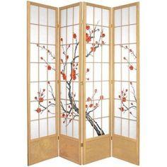 7' Tall Cherry Blossom Shoji Screen, Natural, 4 Panels, Room ...