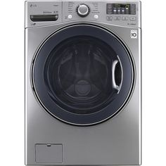 LG - TurboWash 4.3 Cu. Ft. 12-Cycle High-Efficiency Steam Front-Loading Washer - Graphite Steel - Front Zoom