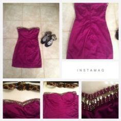 Deep purple sweetheart neck line dress New B. Darlin is the brand never worn 55% polyester 42% cotton 3% spandex size 5/6 medium the bust line is silver beaded all there not missing one thread or bead very vibrant plum purple super beautiful in between a mini and right above the knee great party type cocktail dress stunning zips up in the back side beautiful neckline b.darlin Dresses Mini