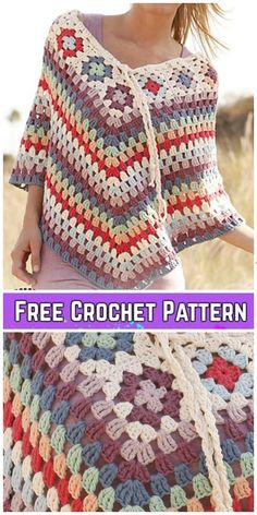 Crochet Granny Stitch Summer Poncho Free Crochet Pattern The Effective Pictures We Offer You About crochet patterns A quality picture can tell you many things. Poncho Crochet, Poncho Knitting Patterns, Granny Square Crochet Pattern, Easy Crochet, Crochet Patterns, Crochet Granny, Crochet Summer, Granny Square Häkelanleitung, Granny Squares