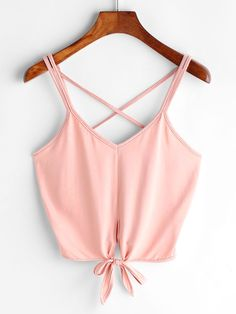 Shop Criss Cross Back Knotted Hem Crop Cami Top online. SheIn offers Criss Cross Back Knotted Hem Crop Cami Top & more to fit your fashionable needs. Cami Tops, Cute Crop Tops, Cropped Tops, Cami Crop Top, Teen Fashion Outfits, Girl Fashion, Girl Outfits, Casual Outfits, Cute Outfits