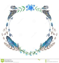 Watercolor Boho Wreath - Download From Over 45 Million High Quality Stock Photos, Images, Vectors. Sign up for FREE today. Image: 65716279