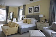 Gray yellow bedroom