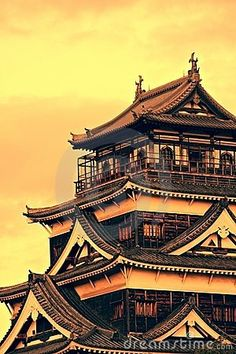 Hiroshima Castle at sunset - Japan