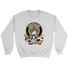 NFL – New Orleans Saints Super Bowl 2019 Mickey Mouse Minnie Mouse Donald Duck Daisy Duck Football Shirts Saints Football, Football Shirts, Saints Super Bowl, New Orleans Saints Shirts, Graphic Tees, Graphic Sweatshirt, Daisy Duck, New Product, Donald Duck