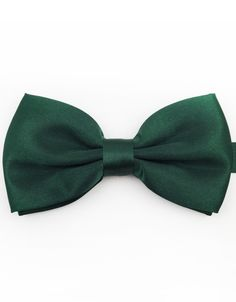 """Product number: BT-2216 Length: 4.75"""" Width: Widest 2.5"""" Material: 100% Microfiber Care: Dry Clean / Spot Clean Label: GENTLEMAN JOE A refreshing, forest green, satin bowtie that will look great on an"""