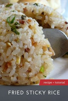 The Best Fried Sticky Rice Recipe - - Fried sticky rice is cooked from raw rice with a little bit of water and oil. It is made in a similar fashion to Italian risotto, constantly stirred with small amounts of liquid continually added. Side Dish Recipes, Asian Recipes, Healthy Recipes, Ethnic Recipes, Yummy Rice Recipes, Recipes Using Rice, Best Rice Recipe, Jasmine Rice Recipes, White Rice Recipes