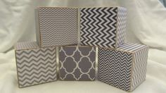 Grey Chevron  Wood Blocks Modern Gender Neutral by TheBlockSpot, $22.50 Nursery Baby Shower Décor