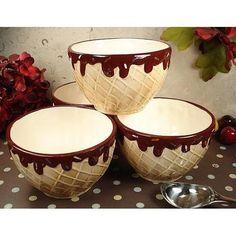 Four Piece Waffle Cone Design Ceramic Ice Cream Bowls Set