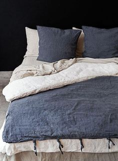 Bed Sheets Ursula Veu Natural Rustic Rough Heavy Weight Linen Duvet Cover / All sizes.Pure linen bedding first pin (navy, cream & tan)