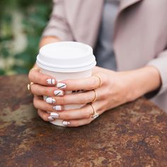 Quick coffee break - I'm not usually one for nail art but I tried out this rose gold design for a shoot this week and I'm loving it! Simple and chic #nailart by louiseroe