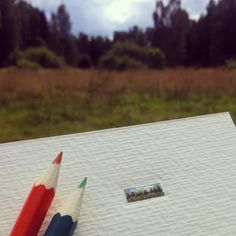 Varvara Razakova micro watercolor landscape