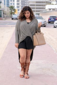 Maya Longline Drape Top and Plus size knee high Gladiators