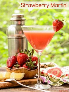 Strawberry Martini made with fresh strawberries, lemon juice, and vodka, Shake it up and enjoy wonderful berry flavor while sipping on this cocktail.