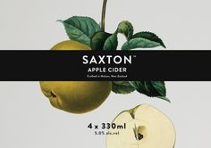 """""""Saxton"""" Apple and Pear Cider packaging, designed by New Zealand studioSupply (via Lovely Package.)"""