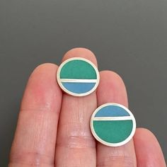MetalObjects.com - MOD STRIPE post earrings blue green geometric resin studs . resin jewelry . resin earrings . striped earrings . summer earrings