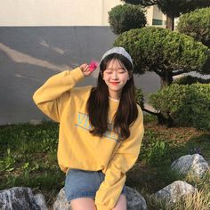 1 or 🍉 Korean Fashion Trends, Korea Fashion, Girl Fashion, Namjoon, Ariana Grande Outfits, Yellow Clothes, Ulzzang Korean Girl, Uzzlang Girl, Korean Aesthetic