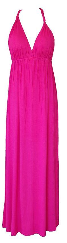 Deep V Neck Maxi Dress Hot Pink