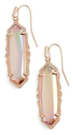 iridescent peach drop earrings