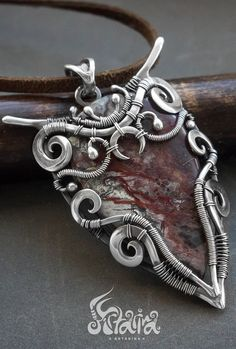 Big wire wrapped sterling silver pendant with unique pattern crazy lace agate gemstone. Buy unique jewelry with affordable prices and frww worldwide shipping Fantasy Jewelry, Gothic Jewelry, Copper Jewelry, Pendant Jewelry, Beaded Jewelry, Men's Jewelry, Jewelery, Unique Jewelry, Wire Wrapped Necklace