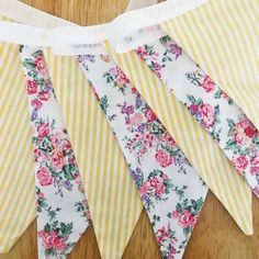 Pink Floral and yellow stripe double sided bunting Yellow Stripes, Bunting, Floral Tie, Trending Outfits, Unique Jewelry, Handmade Gifts, Pink, Etsy, Clothes