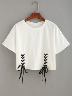 Crop T-Shirt mit schnürung in weiß
