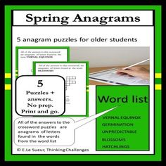 Looking for new vocabulary activities to support learning about anagrams? No prep. Just print and go. Packet includes 5 puzzles and all the answers. Puzzles And Answers, Fast Finishers, Crossword Puzzles, Thematic Units, Vocabulary Activities, Year 6, Upper Elementary, Word Work, Literacy Centers