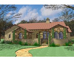 This Tuscan-influenced small house design includes lots of style and intricate details. Details include: -- Lovely front courtyard and covered porch -- Private master suite with access to rear porch -- Foyer that opens into a great room and cozy breakfast nook