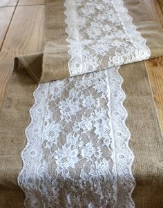 Burlap and Lace Table Runners.....instead of lace, navy blue?