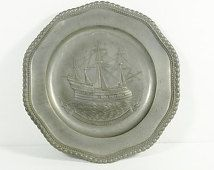 "Vintage German/Bavarian Decorative Pewter Plate – 9.5"" diameter"