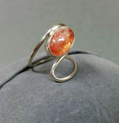 Confetti Sunstone Ring in Sterling, size 8.5 by CatsCreationsLLC on Etsy