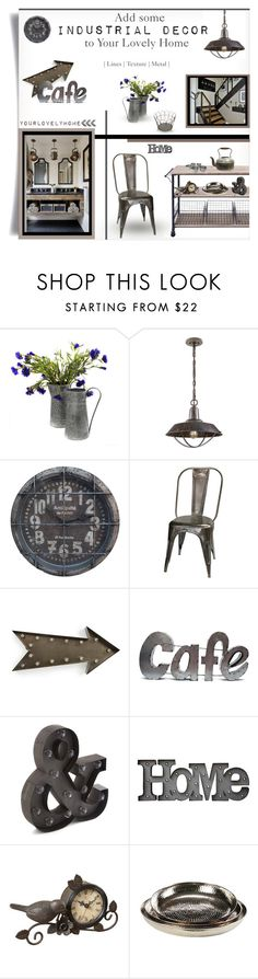 """""""Add some Industrial Decor"""" by yourlovelyhome ❤ liked on Polyvore featuring interior, interiors, interior design, home, home decor, interior decorating, Uttermost, Bisque, kalalou and Rustic Arrow"""