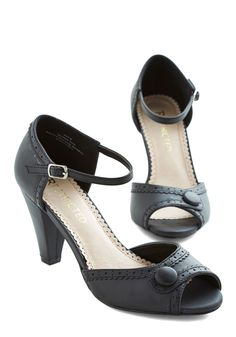 Marvelous Maven Heel in Black. These sweet peep-toe heels by Restricted - in classic black - are your go-to for a busy work day at the paper store! #black #wedding #modcloth