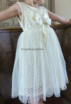 Gorgeous Ivory Lace Girls Dress with Stunning Pearl Accents, this Girls Ivory lace Dress is Perfect for Flower Girl Dresses, Tea Parties and Girls Photo Shoots