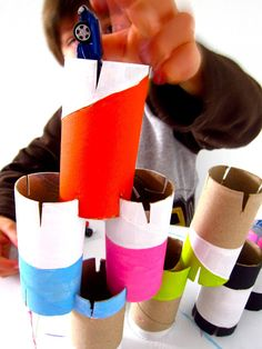 Such a fun building activity! Cut slits in toilet paper rolls to make construction toys.