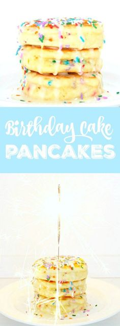 Start the day off right for your loved one with these truly cake-like Birthday Cake Pancakes - loaded with sprinkles and topped with a powdered sugar glaze and birthday candle. Birthday Cake Pancakes, Birthday Cake Flavors, Cake Birthday, Birthday Bash, Birthday Parties, Waffle Recipes, Brunch Recipes, Dessert Recipes, Breakfast Recipes