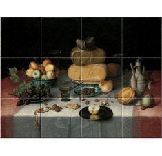 Floris Claesz. van Dijck (1615), Still Life with Cheese, oil on panel, 82,2 x 111,2 cm. Collection Rijksmuseum.