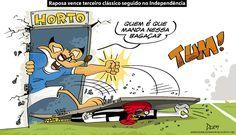 Charge do Dum (Zona do Agrião) sobre a vitória do Cruzeiro sobre o Atlético no Horto (13/06/2016). #Charge #Dum #Independência #Horto #Atlético #Cruzeiro #Brasileirão #CampeonatoBrasileiro #HojeEmDia