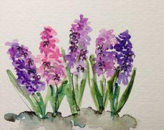 Hyacinths Watercolor Card