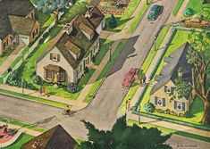 Birds Eye View of Suburbia – Roger Wilkerson, The Suburban Legend! Birds Eye View of Suburbia – Roger Wilkerson, The Et Movie Poster, Surf Guitar, Suburban House, Duplex House Plans, House Drawing, Birds Eye View, Mid Century House, Small Towns, Home Art
