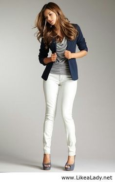 Office style with white pants