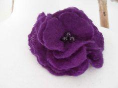 Felt Flower Brooch Pin Brooch Purple Wedding by softadditions, £12.60