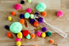 Busy Bag: Can use tongs (or clothespin) to sort color pom poms in appropriate containers (like egg carton or ice cube trays)