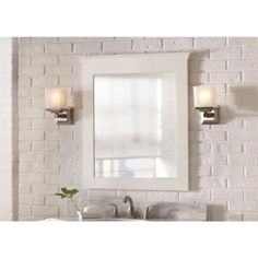 Home Decorators Collection Creeley 34 in. L x 30 in. W Framed Vanity Wall Mirror in Classic White-19EVM3034
