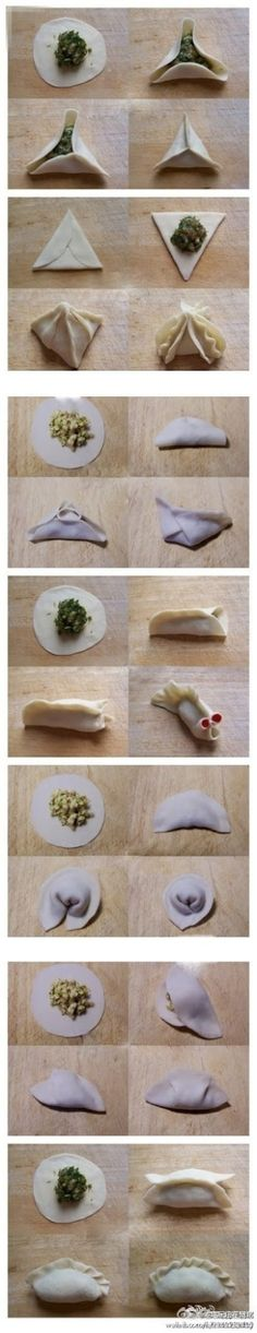 7 ways to fold a dumpling. For when we make Diedrich potstickers Asian Cooking, Dim Sum, Creative Food, Chinese Food, I Love Food, Food Hacks, Asian Recipes, Sushi Recipes, Dinner Recipes