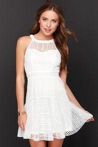 Heavenly Geometry Ivory Lace Halter Dress