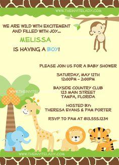 Free Printable Baby Shower Invitations Jungle Theme Safari Theme Of Jungle Theme Baby Shower Invitation Templates Baby Shower Invitation Templates, Baby Shower Invitations For Boys, Baby Shower Themes, Baby Boy Shower, Shower Ideas, Invitation Ideas, Safari Invitations, Invites, Babyshower