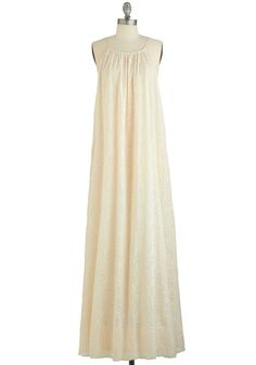 Laid-back Luxury Dress. Combine wedding-day glamour with easygoing, 70s-era style to get this boho chic trapeze gown! #cream #wedding #bride #modcloth