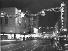 Night view of K Street with Christmas decorations, 1947. Eugene Hepting Collection. See the Center for Sacramento History for more vintage photographs and other materials.